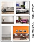 collage of modern home interior.... | Shutterstock . vector #608859509
