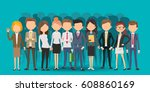 personnel selection creating... | Shutterstock .eps vector #608860169