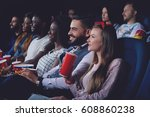 group of people watching movie... | Shutterstock . vector #608860238