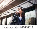 young beautiful brunette... | Shutterstock . vector #608860619