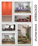 collage of modern home interior.... | Shutterstock . vector #608862620