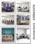 collage of modern interior. 3d... | Shutterstock . vector #608862656