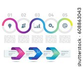 colorful infographic process...   Shutterstock .eps vector #608863043