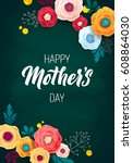 happy mother's day greeting... | Shutterstock .eps vector #608864030