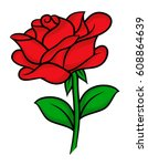 flower rose  red buds and green ... | Shutterstock .eps vector #608864639