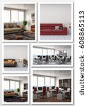collage of modern interior. 3d... | Shutterstock . vector #608865113