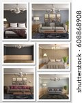 collage of modern home interior....   Shutterstock . vector #608868908