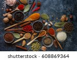 various indian spices in wooden ... | Shutterstock . vector #608869364