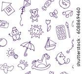 seamless pattern for cute... | Shutterstock .eps vector #608869460