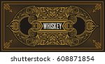 whiskey label with old frames | Shutterstock .eps vector #608871854