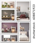 collage of modern home interior.... | Shutterstock . vector #608871923