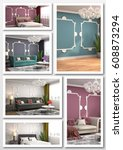 collage of modern home interior....   Shutterstock . vector #608873294