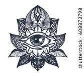 vintage all seeing eye in... | Shutterstock .eps vector #608873798