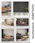 collage of modern home interior.... | Shutterstock . vector #608874293