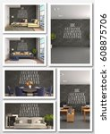 collage of modern interior. 3d... | Shutterstock . vector #608875706