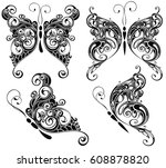 set of butterflies silhouettes... | Shutterstock .eps vector #608878820