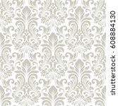 vector damask seamless pattern... | Shutterstock .eps vector #608884130