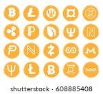 twenty vector golden icons with ... | Shutterstock .eps vector #608885408