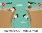 the difference between leader... | Shutterstock .eps vector #608887400