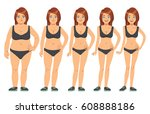 girl  young woman before and... | Shutterstock .eps vector #608888186