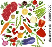 banner of raw food for cooking. ... | Shutterstock .eps vector #608890220