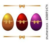 vector colorful easter eggs... | Shutterstock .eps vector #608891474
