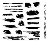 hand drawn abstract black paint ... | Shutterstock .eps vector #608892776