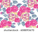 seamless mexican pattern with... | Shutterstock .eps vector #608893670
