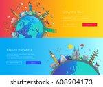 enjoy the tour  explore the... | Shutterstock .eps vector #608904173