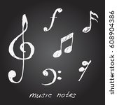 hand drawn music notes. vector... | Shutterstock .eps vector #608904386