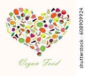 typography banner vegan food.... | Shutterstock .eps vector #608909924