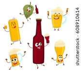 funny beer bottle  glass  can ... | Shutterstock .eps vector #608910614