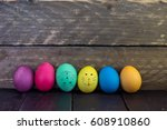row of colorful  funny easter... | Shutterstock . vector #608910860