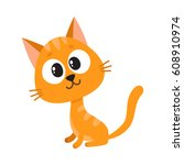 cute and funny red cat... | Shutterstock .eps vector #608910974