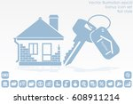 house key hand vector icon | Shutterstock .eps vector #608911214