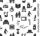 pensioner senior citizen theme... | Shutterstock .eps vector #608911400