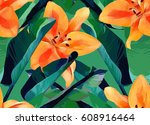 trendy tropical jungle style... | Shutterstock . vector #608916464