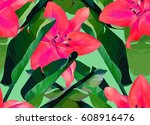 trendy tropical jungle style... | Shutterstock . vector #608916476