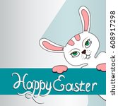 vector white easter bunny on a... | Shutterstock .eps vector #608917298