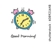 hand drawn alarm clock icon | Shutterstock .eps vector #608921648