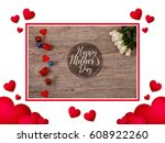 hearts love background. white... | Shutterstock . vector #608922260