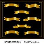 set of gold ribbons. ribbon on... | Shutterstock .eps vector #608923313