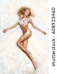 blonde woman like angel   Shutterstock . vector #608923460