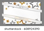 banner with stars from gold ... | Shutterstock .eps vector #608924390