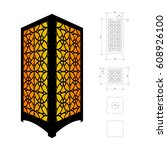 cut out template for lamp ...   Shutterstock .eps vector #608926100