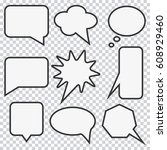speech bubble set. elements for ... | Shutterstock .eps vector #608929460