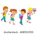 children are going to school...   Shutterstock .eps vector #608931920