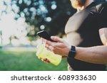 workout fitness concept.closeup ... | Shutterstock . vector #608933630
