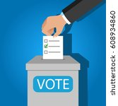 vote. flat design. vector... | Shutterstock .eps vector #608934860