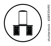 dresser with mirror icon. thin... | Shutterstock .eps vector #608935490